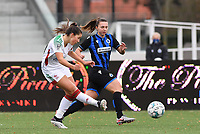 OHL's Luna Vanzeir pictured passing in front of Jody Vangheluwe (22 Brugge) during a female soccer game between Club Brugge Dames YLA and Oud Heverlee Leuven on the 8 th matchday of the 2020 - 2021 season of Belgian Scooore Womens Super League , saturday 21 th November 2020  in Knokke , Belgium . PHOTO SPORTPIX.BE | SPP | DAVID CATRY