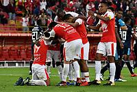 BOGOTA - COLOMBIA - 01 - 03 - 2018: Los jugadores de Independiente Santa Fe (COL)celebran el gol anotado a Emelec (ECU) durante partido entre Independiente Santa Fe (COL) y Emelec (ECU), de la fase de grupos, grupo 4, fecha 1 de la Copa Conmebol Libertadores 2018, jugado en el estadio Nemesio Camacho El Campin de la ciudad de Bogota. / The players of Independiente Santa Fe (COL), celebrate a scored goal to Emelec (ECU) during a match between Independiente Santa Fe (COL) and Emelec (ECU), of the group stage, group 4, 1st date for the Conmebol Copa Libertadores 2018 at the Nemesio Camacho El Campin Stadium in Bogota city. Photo: VizzorImage  / Luis Ramirez / Staff.