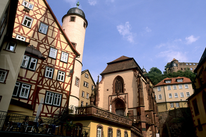Germany Wertheim  Colorful Old Town by Rhine River