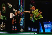 25th May 2021; Marshall Arena, Milton Keynes, Buckinghamshire, England; Professional Darts Corporation, Unibet Premier League Night 14 Milton Keynes; Michael van Gerwen in action against Gary Anderson