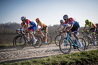 Dutch Road Champion Mathieu Van der Poel (NED/Alpecin-Fenix) having no problems with the rough cobbles (choosing the roadside gravel instead)<br /> <br /> 53rd Le Samyn 2021<br /> ME (1.1)<br /> 1 day race from Quaregnon to Dour (BEL/205km)<br /> <br /> ©kramon