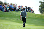 ISPS Handa Wales Open Golf final day at the Celtic Manor Resort in Newport, UK. : Lee Westwood of England walks onto the 17th green as the crowd watch.