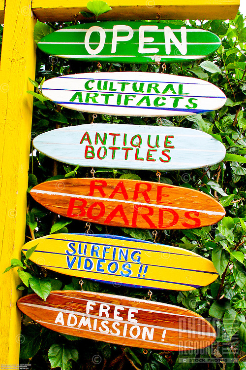 The North Shore Surf Museum. Features a  detailed history of the sport of surfing, and bric-a-brac for sale.Located near the North Shore Marketplace in the town of Haleiwa, north shore of Oahu.