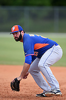 New York Mets Zach Mathieu (21) during practice before a minor league spring training game against the St. Louis Cardinals on April 1, 2015 at the Roger Dean Complex in Jupiter, Florida.  (Mike Janes/Four Seam Images)