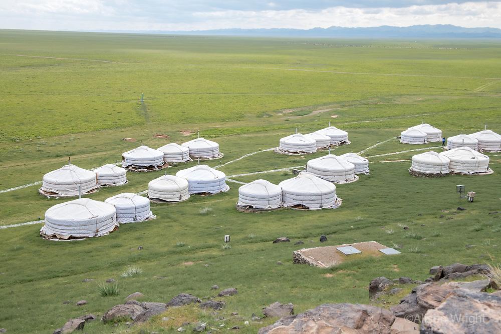 Mongolia, Gobi Gurvan Saikhan National Park, Gobi Desert, gers at Three Camel Lodge.