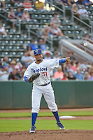 Roberth Fernandez (51) of the Ogden Raptors throws to first base against the Orem Owlz in Pioneer League action at Lindquist Field on June 18, 2015 in Ogden, Utah.  This was Opening Night play of the 2015 Pioneer League season. (Stephen Smith/Four Seam Images)