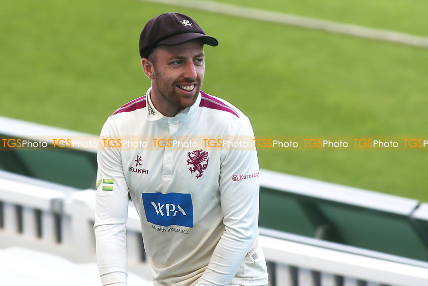 Somerset's Jack Leach in cheerful mood as he leads the Somerset team off the pitch after taking five wickets during Surrey CCC vs Somerset CCC, LV Insurance County Championship Group 2 Cricket at the Kia Oval on 13th July 2021