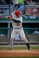 Auburn Doubledays Andrew Pratt (33) at bat during a NY-Penn League game against the Batavia Muckdogs on August 31, 2019 at Dwyer Stadium in Batavia, New York.  Auburn defeated Batavia 12-5.  (Mike Janes/Four Seam Images)