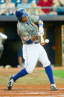 Desmond Jennings #16 of the Durham Bulls makes contact with the baseball against the Lehigh Valley IronPigs at Durham Bulls Athletic Park June 26, 2010, in Durham, North Carolina.  Photo by Brian Westerholt / Four Seam Images