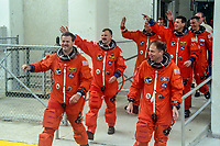"""Crew walkout, Richard A. Searfoss, Commander (3rd Shuttle flight)<br /> Scott D. Altman, Pilot (1st)<br /> Richard M. Linnehan, Payload Commander and Mission Specialist (2nd)<br /> Dafydd """"Dave"""" Rhys Williams, Mission Specialist (1st), (Canadian Space Agency)<br /> Kathryn P. """"Kay"""" Hire, Mission Specialist (1st)<br /> Jay C. Buckey, Payload Specialist (1st)<br /> James A. """"Jim"""" Pawelczyk, Payload Specialist (1st)Space Shuttle Columbia, STS-90 mission, Kennedy Space Center, April 1998.  (Photo by Brian Cleary/bcpix.com)"""