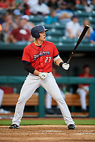 Jacksonville Jumbo Shrimp left fielder Peter O'Brien (27) at bat during a game against the Biloxi Shuckers on June 8, 2018 at Baseball Grounds of Jacksonville in Jacksonville, Florida.  Biloxi defeated Jacksonville 5-3.  (Mike Janes/Four Seam Images)