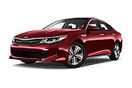 Stock pictures of low aggressive front three quarter view of a 2018 KIA Optima Plug-In Hybrid 4 Door Sedan