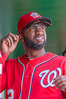 26 May 2013: Washington Nationals outfielder Denard Span looks out from the dugout prior to a game against the Philadelphia Phillies at Nationals Park in Washington, DC. The Nationals defeated the Phillies 6-1 to take the rubber game of their 3-game weekend series. Mandatory Credit: Ed Wolfstein Photo *** RAW (NEF) Image File Available ***