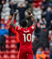 23rd May 2021; Anfield, Liverpool, England; EPL Premier League football, Liverpool versus Crystal Palace:  Liverpool's Sadio Mane celebrates after scoring the second goal for 2-0 in minute 74 during the Premier League match between Liverpool and Crystal Palace at Anfield