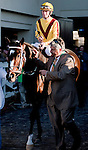 March 2010: Rachel Alexandria (2) and Calvin Borel are led onto the track by trainer Steve Asmussen before the 1st running of the New Orleans Ladies at the Fairgrounds in New Orleans, La.