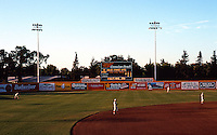 Ballparks: Stockton, CA. Billy Hebert Field game time on a slow Sunday evening in August, 1992.