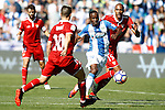 CD Leganes' Mamadou Kone (c) and Sevilla FC's Samir Nasri (l) and Steven N'Zonzi during La Liga match. October 15,2016. (ALTERPHOTOS/Acero)