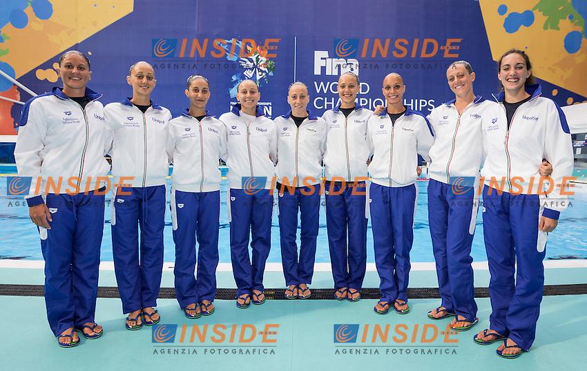 Team Italy<br /> BOZZO Elisa CALLEGARI Beatrice<br /> CATTANEO Camilla DEIDDA Francesca<br /> FLAMINI Manila GALLI Gemma<br /> PERRUPATO Mariangela SGARZI Sara<br /> MUSSO Viola Reserve<br /> PEZONE Alessia <br /> Day9 01/87/2015<br /> XVI FINA World Championships Aquatics<br /> Synchro<br /> Kazan Tatarstan RUS July 24 - Aug. 9 2015 <br /> Photo Giorgio Scala/Deepbluemedia/Insidefoto