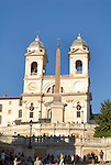 The church of Trinita dei Monti at the top of the Spanish Steps in the Campo Marzio  district of Rome.