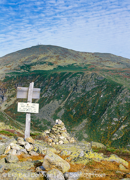 Tuckerman Ravine and Mount Washington from Boott Spur Trail in Sargent's Purchase in the New Hampshire White Mountains; this area is part of the Presidential Range. Tuckerman Ravine is named for Professor Edward Tuckerman, a botanist and early explorer of the White Mountains.