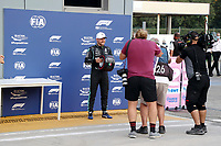 10th September, September 2021; Nationale di Monza, Monza, Italy; FIA Formula 1 Grand Prix of Italy, Free practise and qualifying for sprint race:  77 Valtteri Bottas FIN, Mercedes-AMG Petronas F1 Team celebrates with the pole award