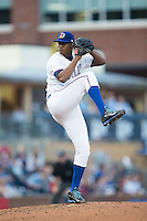 Durham Bulls starting pitcher Enny Romero (30) in action against the Scranton/Wilkes-Barre RailRiders at Durham Bulls Athletic Park on May 15, 2015 in Durham, North Carolina.  The RailRiders defeated the Bulls 8-4 in 11 innings.  (Brian Westerholt/Four Seam Images)