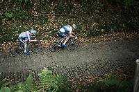 European Champion Mathieu Van der Poel (NED/Corendon Circus) and Eli Iserbyt (BEL/Marlux Bingoal) riding the cobbles of the Koppenberg.<br /> <br /> Koppenbergcross Belgium 2018
