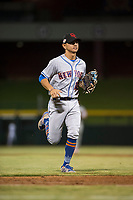 Scottsdale Scorpions shortstop Andres Gimenez (13), of the New York Mets organization, jogs off the field between innings of an Arizona Fall League game against the Mesa Solar Sox at Sloan Park on October 10, 2018 in Mesa, Arizona. Scottsdale defeated Mesa 10-3. (Zachary Lucy/Four Seam Images)