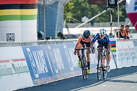 Annemiek van Vleuten (NED/Mitchelton-Scott) beats Elisa Longo Borghini (ITA/Trek-Segafredo) in a sprint for the silver medal.<br /> <br /> Women's Elite Road Race from Imola to Imola (143km)<br /> <br /> 87th UCI Road World Championships 2020 - ITT (WC)<br /> <br /> ©kramon
