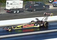 Feb 12, 2017; Pomona, CA, USA; NHRA top fuel driver Troy Coughlin Jr during the Winternationals at Auto Club Raceway at Pomona. Mandatory Credit: Mark J. Rebilas-USA TODAY Sports