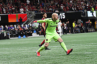 ATLANTA, GA - MARCH 07: ATLANTA, GA - MARCH 07: Atlanta United goalkeeper Brad Guzan distributes the ball during the match against FC Cincinnati, which Atlanta won, 2-1, in front of a crowd of 69,301 at Mercedes-Benz Stadium during a game between FC Cincinnati and Atlanta United FC at Mercedes-Benz Stadium on March 07, 2020 in Atlanta, Georgia.