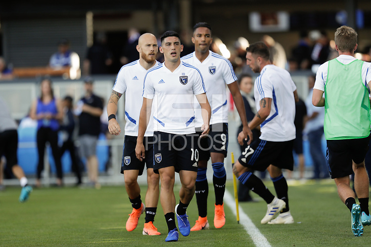SAN JOSE, CA - AUGUST 03: Cristian Espinoza  prior to a Major League Soccer (MLS) match between the San Jose Earthquakes and the Columbus Crew on August 03, 2019 at Avaya Stadium in San Jose, California.