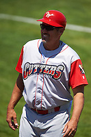 Williamsport Crosscutters manager Pat Borders (10) during a game against the Batavia Muckdogs on July 16, 2015 at Dwyer Stadium in Batavia, New York.  Batavia defeated Williamsport 4-2.  (Mike Janes/Four Seam Images)