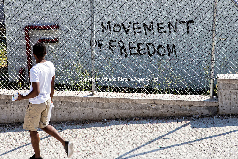 "Pictured: A ""Movement Of Freedom"" graffiti on one of the walls.<br /> Re: Everyday life at the Moria refugee camp on the island of Lesbos, Greece."