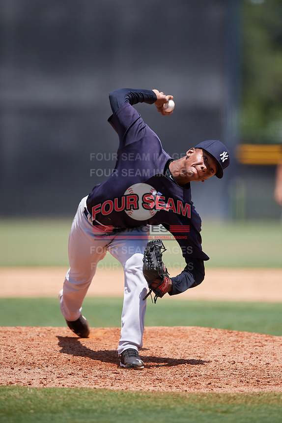 GCL Yankees East relief pitcher Jose Peguero (52) delivers a pitch during a game against the GCL Yankees West on August 8, 2018 at Yankee Complex in Tampa, Florida.  GCL Yankees West defeated GCL Yankees East 8-4.  (Mike Janes/Four Seam Images)