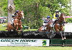 22 May 2011.  #5 Brave Prospect with Emily MacMahon lead #2 Gusto Nuevo and #1 Beer Frame over the last hurdle in the first of two laps around the course.   The $15,000 David Mullins Memorial Maiden Hurdle, High Hope Steeplechase at the Kentucky Horse Park.