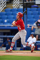Palm Beach Cardinals third baseman Danny Diekroeger (4) at bat during the first game of a doubleheader against the Dunedin Blue Jays on July 31, 2015 at Florida Auto Exchange Stadium in Dunedin, Florida.  Dunedin defeated Palm Beach 7-0.  (Mike Janes/Four Seam Images)