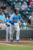Gleyber Torres (11) of the Myrtle Beach Pelicans starts down the first base line during the game against the Winston-Salem Dash at BB&T Ballpark on July 7, 2016 in Winston-Salem, North Carolina.  The Dash defeated the Pelicans 13-9.  (Brian Westerholt/Four Seam Images)