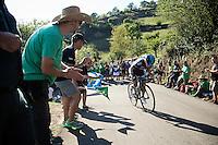 Sergio Henao (COL/SKY) up the ridiculously steep bit (+21%) of the final climb<br /> <br /> stage 16: Luarca - Ermita de Alba. Quiros (185km)<br /> 2015 Vuelta à Espagna