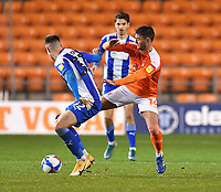 Blackpool's Gary Madine battles with Wigan Athletic's Adam Long<br /> <br /> Photographer Dave Howarth/CameraSport<br /> <br /> The EFL Sky Bet League One - Blackpool v Wigan Athletic - Tuesday 3rd November 2020 - Bloomfield Road - Blackpool<br /> <br /> World Copyright © 2020 CameraSport. All rights reserved. 43 Linden Ave. Countesthorpe. Leicester. England. LE8 5PG - Tel: +44 (0) 116 277 4147 - admin@camerasport.com - www.camerasport.com