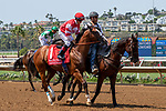 DEL MAR, CA  AUGUST 11: #1 Instagrand, ridden by Drayden Van Dyke, in the post parade before the Best Pal Stakes (Grade ll) on August 11, 2018, at Del Mar Thoroughbred Club in Del Mar, CA. (Photo by Casey Phillips/Eclipse Sportswire/Getty Images