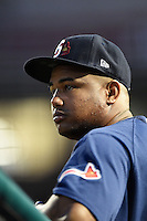 Gwinnett Braves pitcher Juan Jaime (46) in the dugout during a game against the Buffalo Bisons on May 13, 2014 at Coca-Cola Field in Buffalo, New  York.  Gwinnett defeated Buffalo 3-2.  (Mike Janes/Four Seam Images)