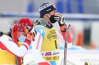 21st December 2020; Alta Badia Ski Resort, Dolomites, Italy; International Ski Federation World Cup Slalom Skiing; Ramon Zenhaeusern (SUI) watch the finish line for other times