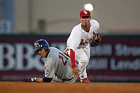 Palm Beach Cardinals second baseman Neal Pritchard #35 and base runner Oswaldo Arcia #21 look to first on a double play attempt during a game against the Fort Myers Miracle at Roger Dean Stadium on May 1, 2012 in Jupiter, Florida.  Palm Beach defeated Fort Myers 9-3.  (Mike Janes/Four Seam Images)