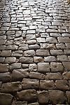 Paving stones, worn stone street, Calvi, West Coast Corsica, Corsica, France, towns in Corsica, French coastal villages, Corsican coast,