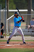 Miami Marlins Ricardo Cespedes (50) during a Minor League Spring Training Intrasquad game on March 28, 2019 at the Roger Dean Stadium Complex in Jupiter, Florida.  (Mike Janes/Four Seam Images)