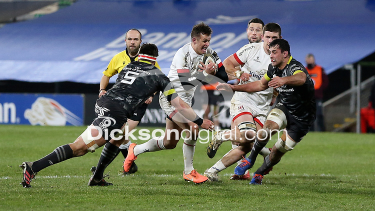 2nd January 2021 | Ulster vs Munster <br /> <br /> Billy Burns is tackled by Billy Holland during the PRO14 Round 10 clash between Ulster Rugby and Munster Rugby at the Kingspan Stadium, Ravenhill Park, Belfast, Northern Ireland. Photo by John Dickson/Dicksondigital