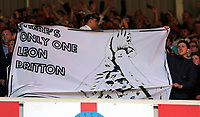 """SUNDERLAND, ENGLAND - MAY 13: A """"There is only one Leon Britton"""" banner held by Swansea supporters during the Premier League match between Sunderland and Swansea City at the Stadium of Light, Sunderland, England, UK. Saturday 13 May 2017"""