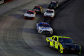 BRISTOL, TENNESSEE - JUNE 01: Brandon Jones, driver of the #19 Menards/Pelonis Toyota, leads a pack of cars during the NASCAR Xfinity Series Cheddar's 300 presented by Alsco at Bristol Motor Speedway on June 01, 2020 in Bristol, Tennessee. (Photo by Kevin C. Cox/Getty Images)