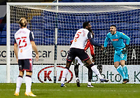 Bolton Wanderers' goalkeeper/coach Matthew Gilks (right) organises his defence<br /> <br /> Photographer Andrew Kearns/CameraSport<br /> <br /> The EFL Sky Bet League Two - Bolton Wanderers v Salford City - Friday 13th November 2020 - University of Bolton Stadium - Bolton<br /> <br /> World Copyright © 2020 CameraSport. All rights reserved. 43 Linden Ave. Countesthorpe. Leicester. England. LE8 5PG - Tel: +44 (0) 116 277 4147 - admin@camerasport.com - www.camerasport.com
